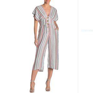 Nostalgia Apparel Stripe V-Neck Jumpsuit size M